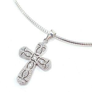 925 Sterling Silver Rhinestone Cross Necklace